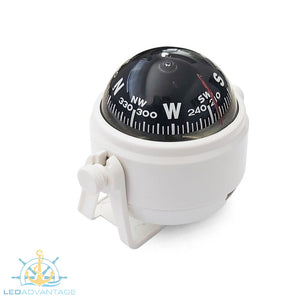 Boat Compact Compass 55mm Pivoting (White Housing)