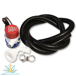 "12v Boat Marine 500GPH Bilge Pump & Plumbing Kit (90 Degree Angle 3/4"" Skin Fitting)"