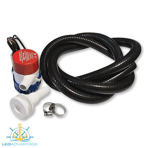 "12v Boat Marine 550GPH Bilge Pump & Plumbing Kit (Straight 3/4"" Skin Fitting)"
