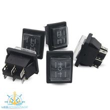 Load image into Gallery viewer, 12v Large Rectangular Momentary Three-Way (On)/Off/(On) Rocker Switches (5 Pack)
