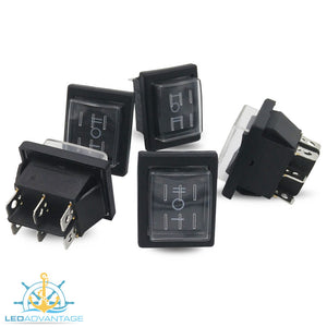 12v Large Rectangular Momentary Three-Way (On)/Off/(On) Rocker Switches (5 Pack)