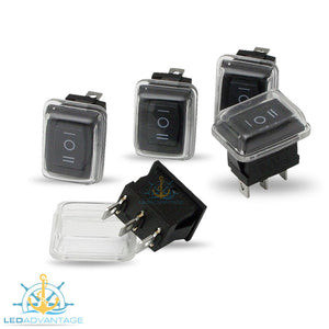 12v Compact Rectangular Three-Way On/Off/On Rocker Switches (5 Pack)