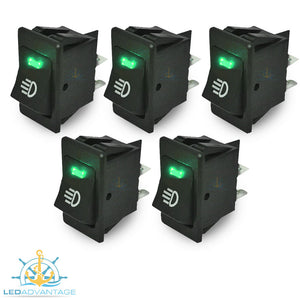 12v On/Off Interior Green LED Illuminated Switch (5 Pack)