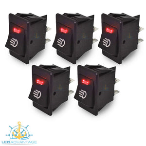 12v On/Off Interior Red LED Illuminated Switch (5 Pack)