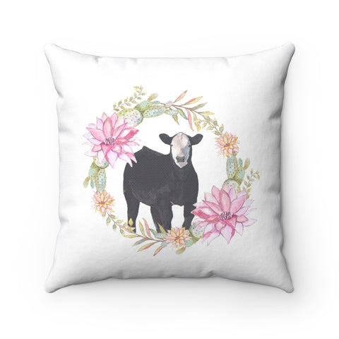 Steer Floral Pillow