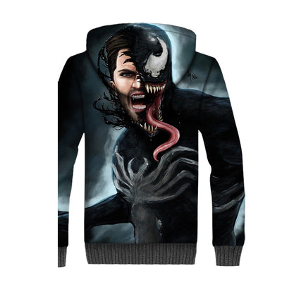 Venom Spider Unisex Fleece Winter Jacket Pullover Hoodie