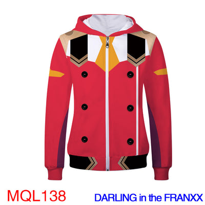 Anime Sweatshirt - DARLING in the FRANXX Unisex Zip Up Hoodie