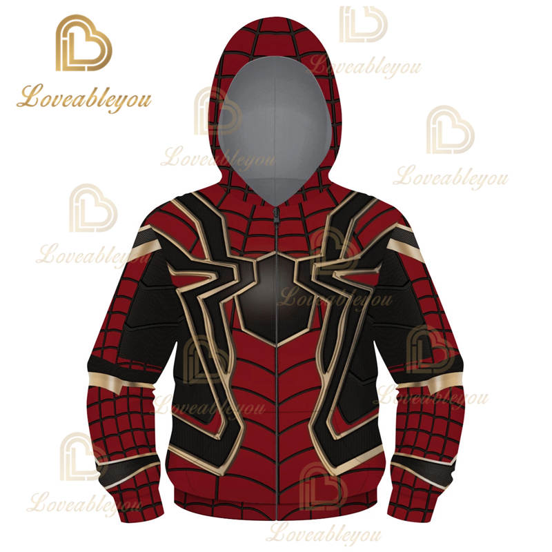 Superhero - Iron Spiderman Children and Adult Unisex Zip Up Hoodie