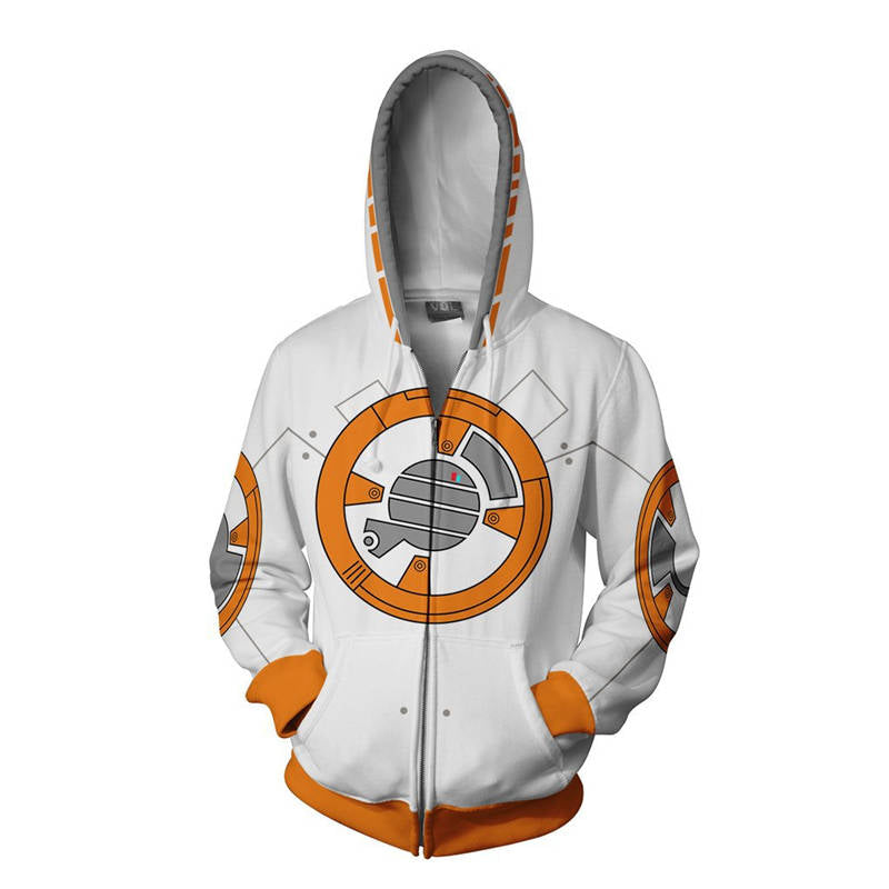 Star Wars: The Last Jedi Sweatshirt - BB-8 Cosplay Zip Up Hoodie