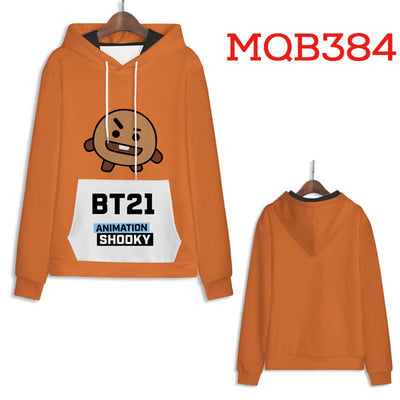 Orange BT21 Star Hoodies - Unisex Pullover Hoodie
