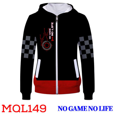 Anime Sweatshirt - No Game No Life Unisex Zip Up Hoodie