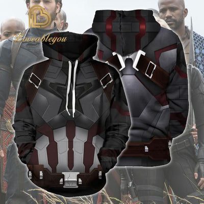 Avengers: Infinity War Hoodies - Captain America Steve Zip Up Thick Cotton Sweatshirt
