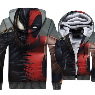 Venom Deadpool Unisex Fleece Winter Jacket Pullover Hoodie