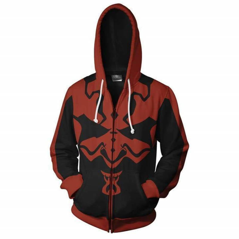Star Wars Comic Cosplay Costume Long Sleeve Black and Red Zip Up Hoodie