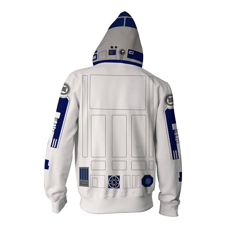 Star Wars - Robot D2-R2 Cosplay Zip Up Hoodie