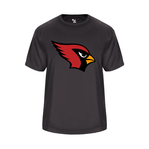 Youth Vent Back Graphite Shirt with Cardinal Logo