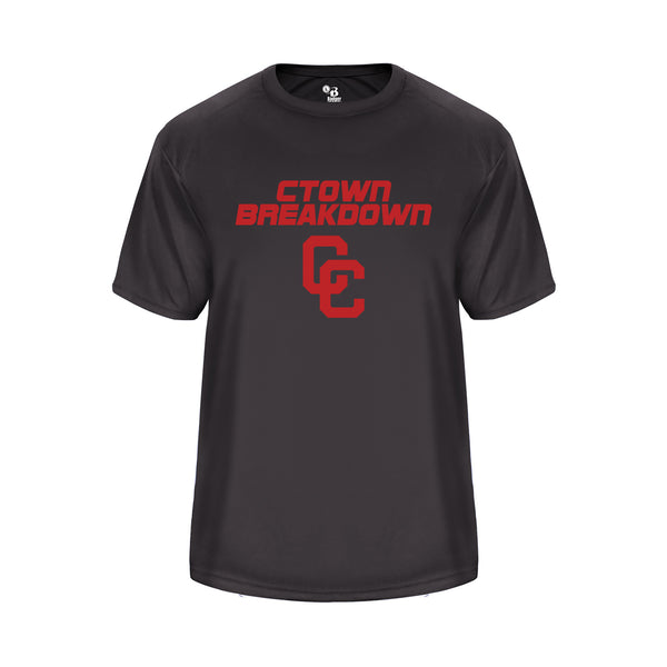 CTOWN BREAKDOWN Youth Vent Back Graphite Shirt with Red CC Logo