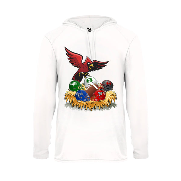 Youth White Hoodie with Cardinal District Rivals Logo