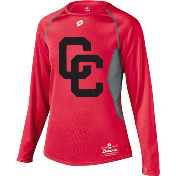 Red DeMarini's CC Long Sleeved Youth Shirt with Black CC Logo