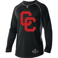 Black DeMarini's CC Long Sleeved Youth Shirt with Red CC Logo