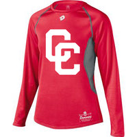 Red DeMarini's CC Long Sleeved Youth Shirt with White CC Logo
