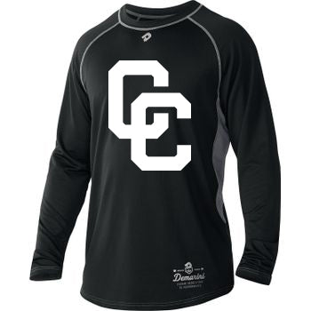 Black DeMarini's CC Long Sleeved Youth Shirt with White CC Logo