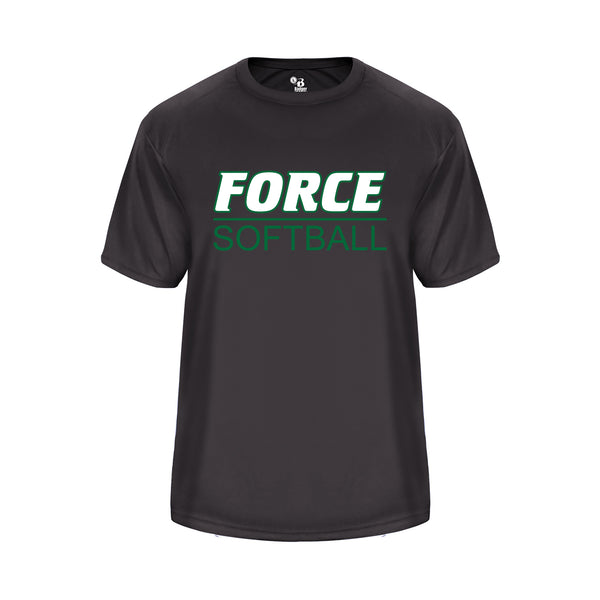Youth Graphite Vent Back Shirt with Force Softball Logo