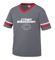 Youth Graphite Jersey with White CTOWN BREAKDOWN Little League C Logo