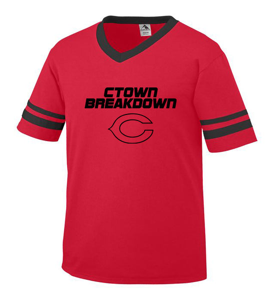 Youth Red Jersey with Black CTOWN BREAKDOWN Little League C Logo