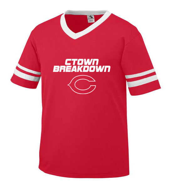 Youth Red Jersey with White CTOWN BREAKDOWN Little League C Logo
