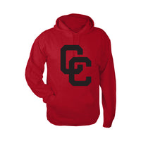 Red Fleece Hoodie with Black CC Logo