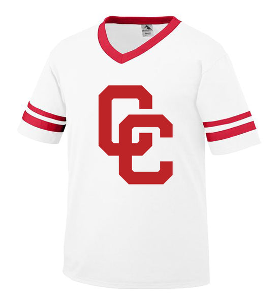 Youth White Jersey with Red CC Logo