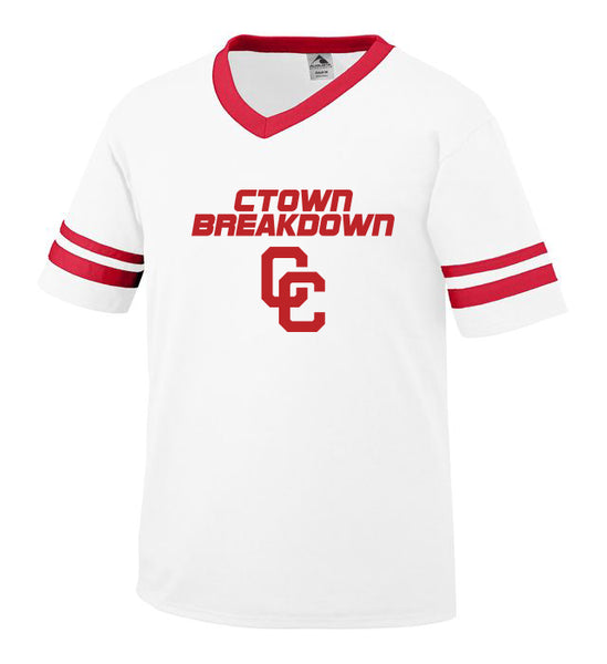 Youth White Jersey with Red CTOWN BREAKDOWN CC Logo