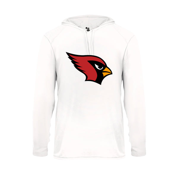 Youth White Hoodie with Cardinal Logo