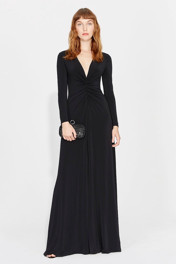 black ruched long sleeved gown