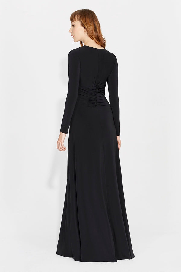 elegant beautiful black long-sleeved dress
