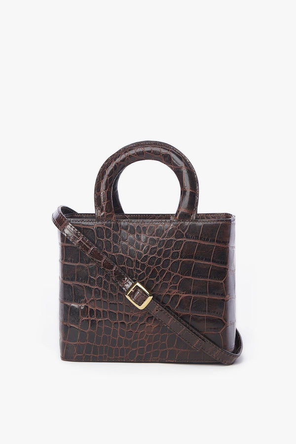 chic brown embossed box top handle bag with long strap
