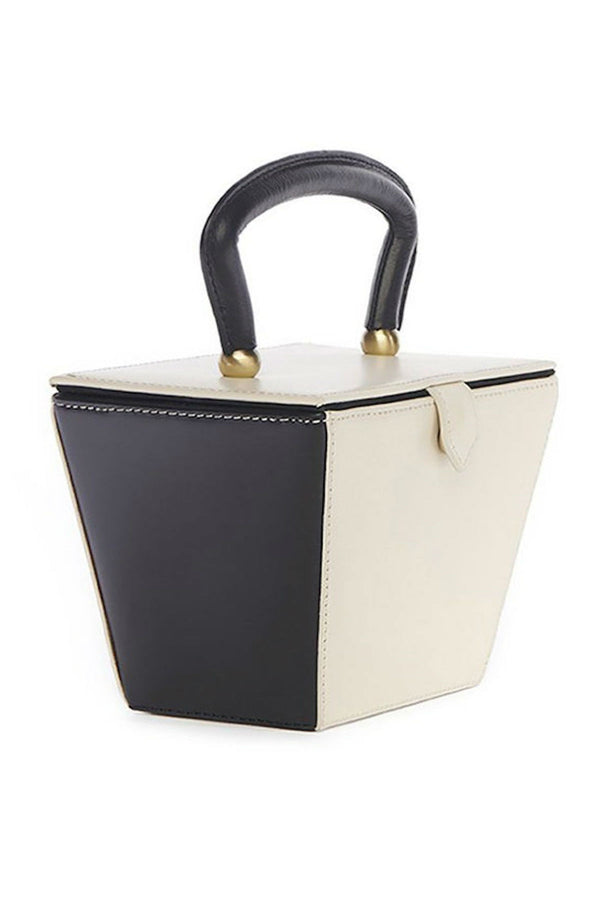 black and white box bag