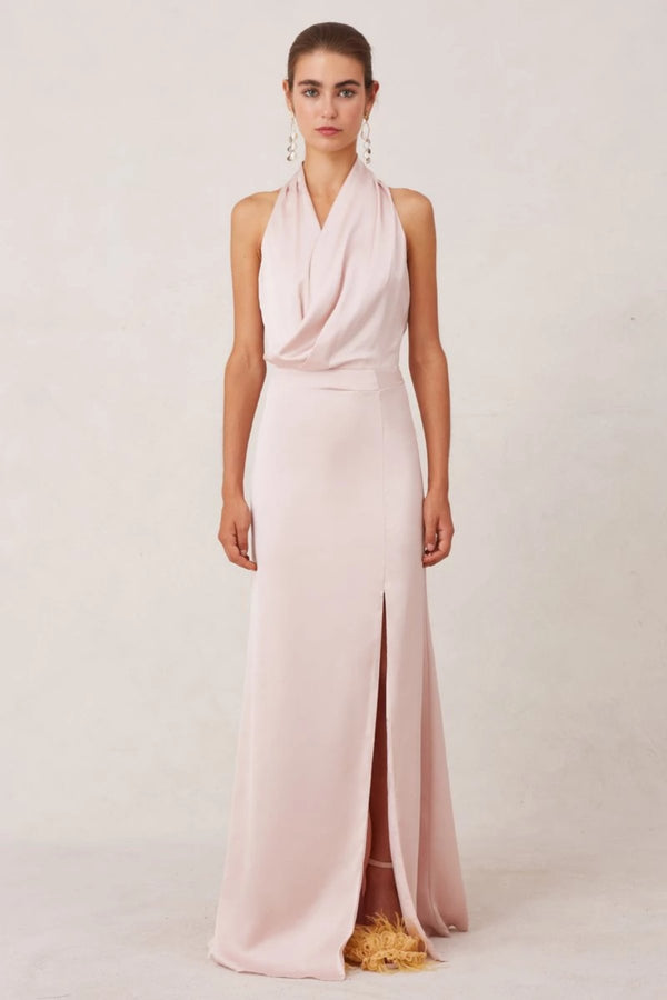 nude pink silk gown
