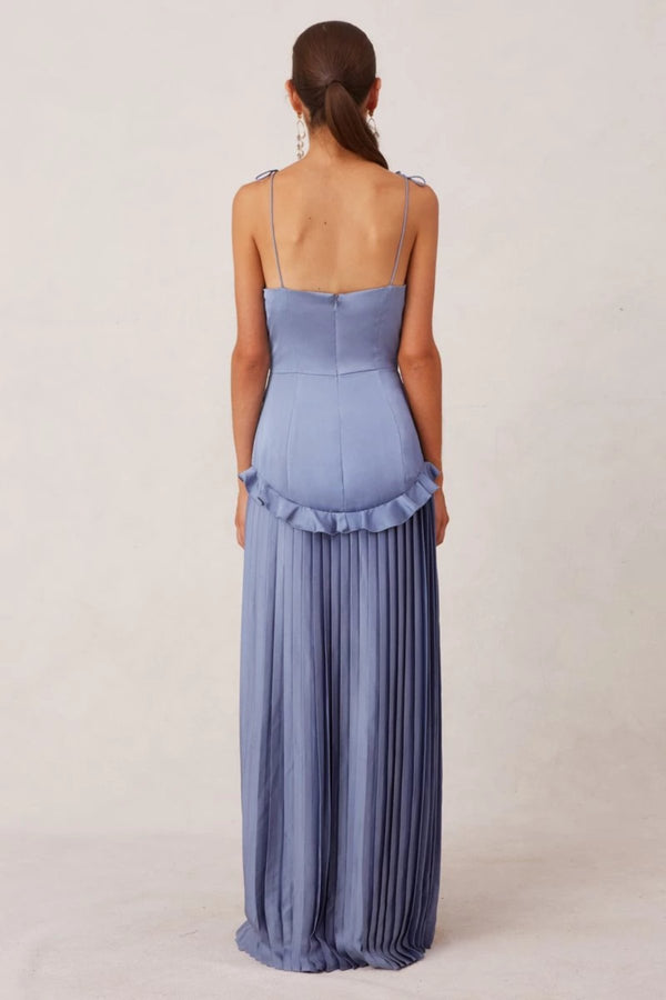 elegant pleated silk dress