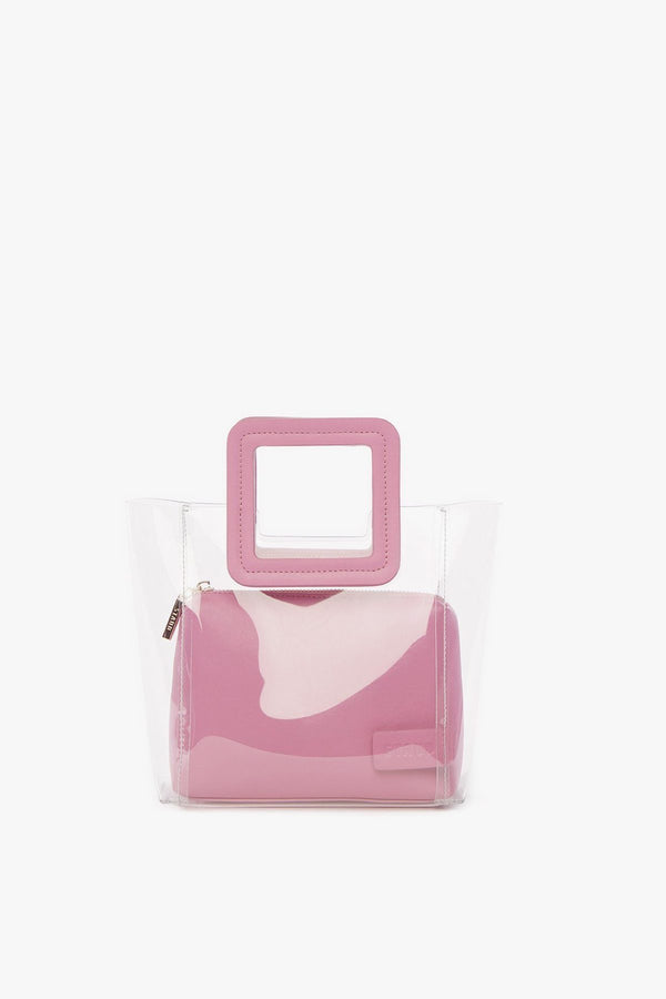 elegant top handle pvc bag with pink details