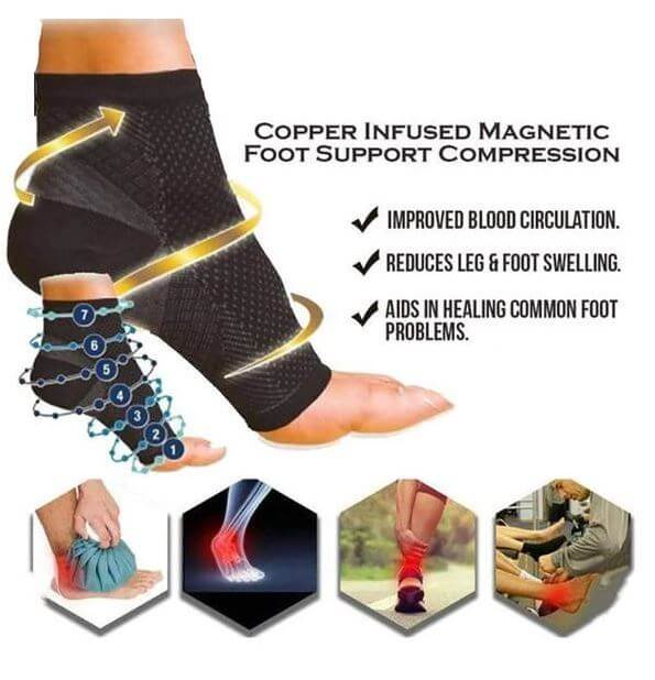 COPPER INFUSED MAGNETIC FOOT SUPPORT COMPRESSION SOCKS