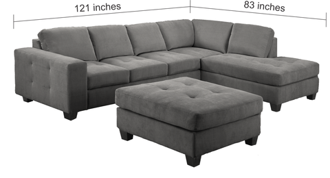 Superb 4420 Leatherette Sectional With Storage Ottoman 2 Colours Available Uwap Interior Chair Design Uwaporg
