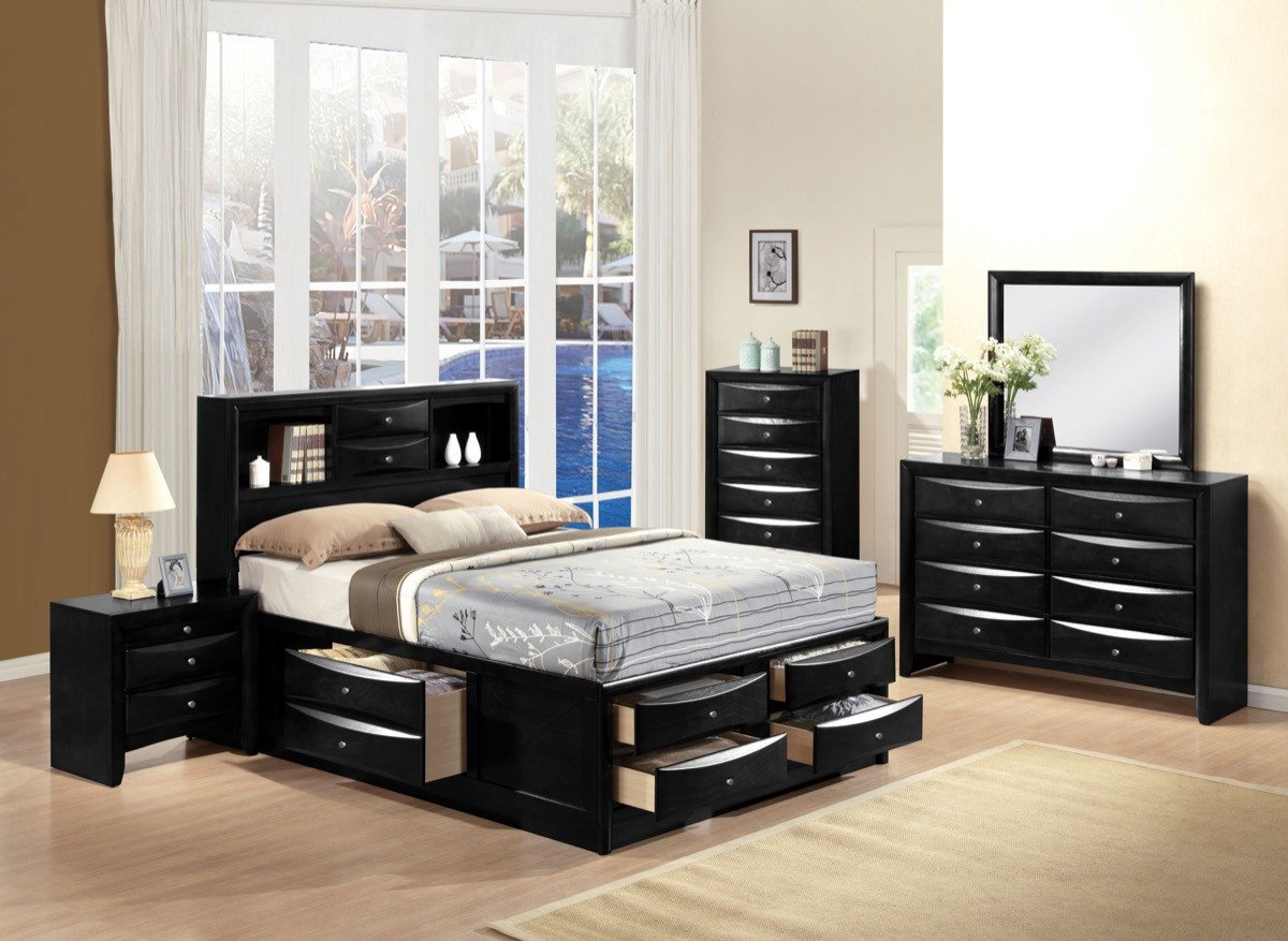 Ireland with Storage Black Bedroom Set - Available in King and Queen