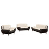 Polaris - Sofa Set Faux Leather - White and Black