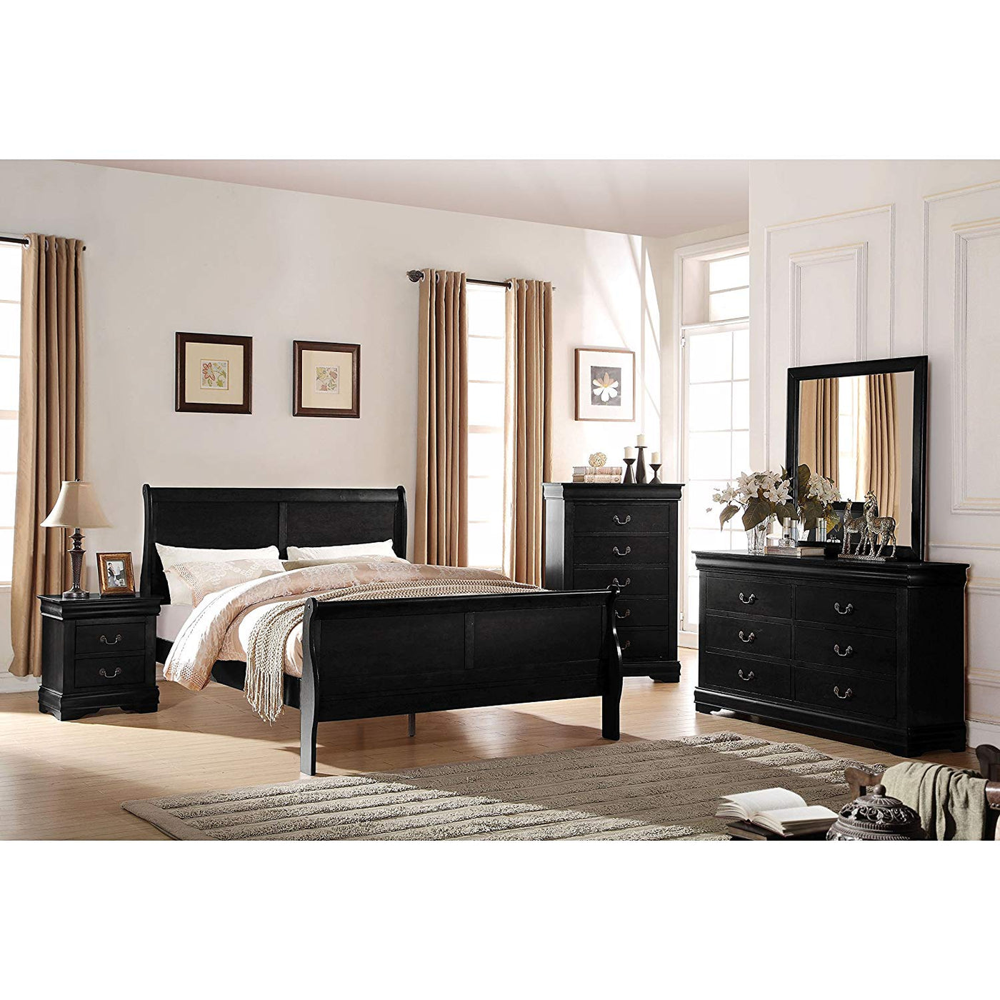 Louis Philippe Black Bedroom Set Available In King And Queen Furniture 4 Less Canada