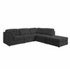 9377 - Super Plush Fabric Sectional with Ottoman - Brown