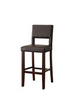 96610 Reiko Bar Chair (1Pc), White PU & Espresso