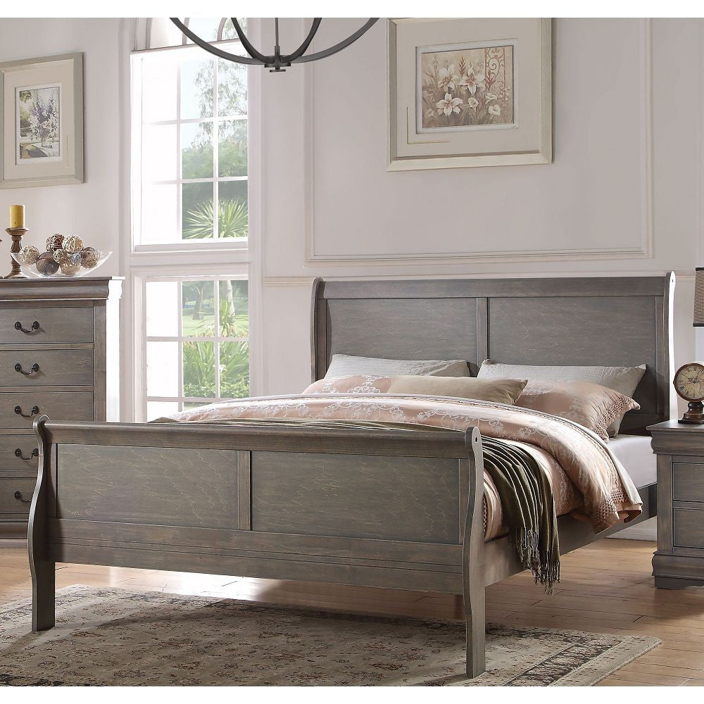 Louis Philippe Gray Bed Frame - Available in King and Queen