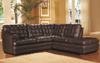 7026 - Leather Sectional With Right or Left Facing Chaise (Ottoman available)